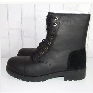 UGG KILMER Exposed Fur Combat Style Laced Boots